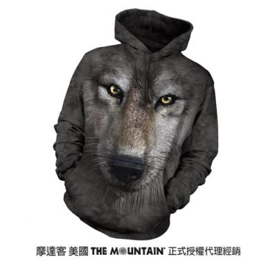 摩達客 美國進口The Mountain 狼臉 長袖連帽T恤