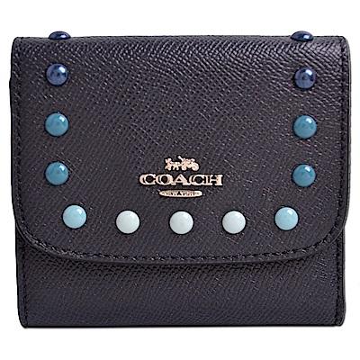 COACH 立體馬車LOGO鉚釘貼飾防刮全皮釦式三摺短夾-藏藍