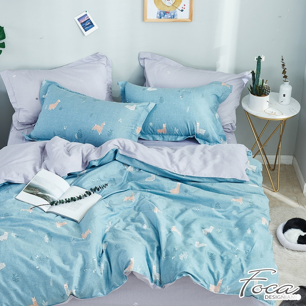FOCA別跑!草尼馬-單人-韓風設計100%精梳純棉三件式薄被套床包組