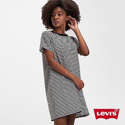 Levis 女款 長版條紋洋裝短Tee 迷你Logo刺繡布章