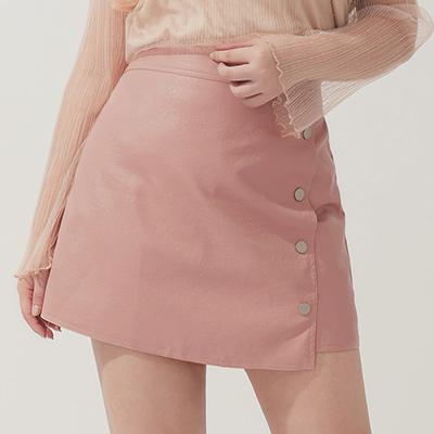 AIR SPACE PLUS 休閒排釦設計皮裙(粉紅)