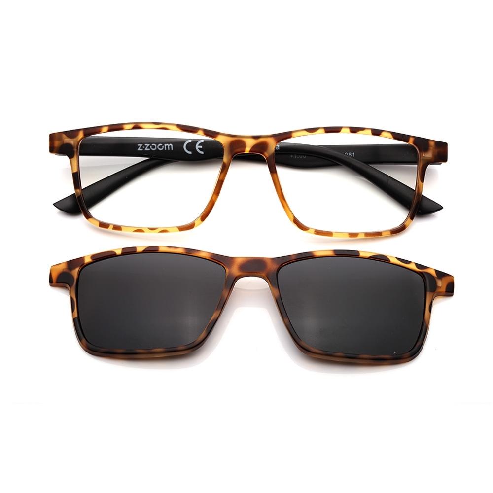 【 Z·ZOOM 】老花眼鏡 磁吸太陽眼鏡系列 知性矩形細框款(豹紋色)