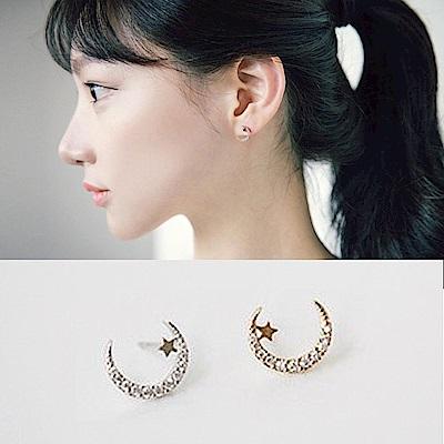 梨花HANA  韓國S925銀星燦月光細緻耳環