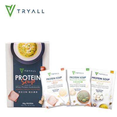 [台灣 Tryall] 高蛋白濃湯-花椰菜馬鈴薯/火腿玉米/奶油野菇 (6入/2盒)