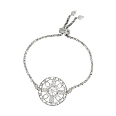 (福利品)apm MONACO法國精品珠寶 閃耀銀色鑲鋯PROTECTION可調整手鍊手環