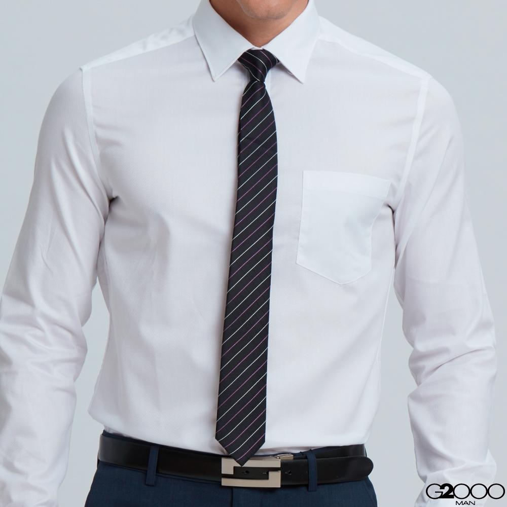 G2000絲質條紋配襯領帶-黑色