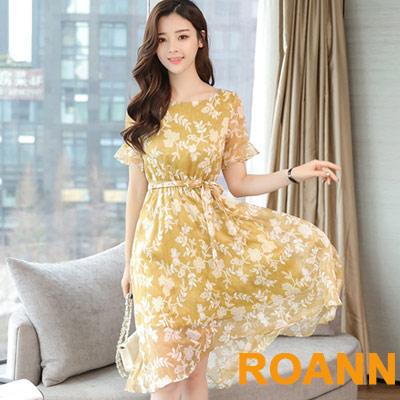 圓領拼接荷葉邊大擺洋裝 (黃花)-ROANN