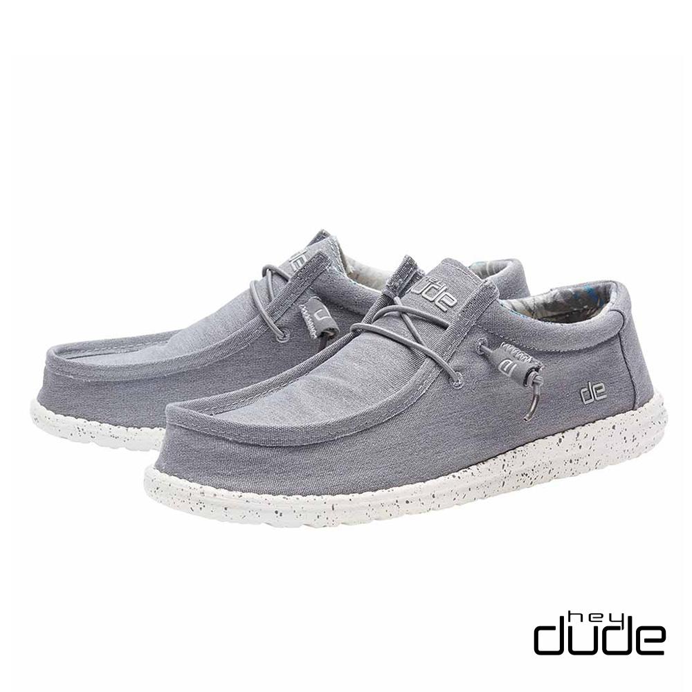 HEY DUDE(男) 四孔透氣棉布輕量休閒鞋  -漾輕灰