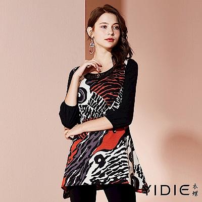 【YIDIE衣蝶】個性動物紋異材質拼接長版上衣