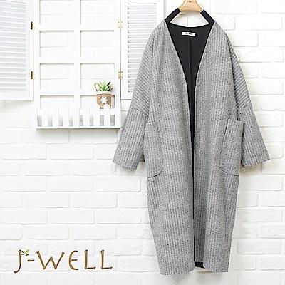 J-WELL 無領貼口袋羅紋長版外套(2色)