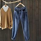 工裝腰單色微彈力顯瘦牛仔寬鬆長褲-設計所在