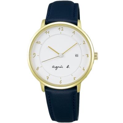 agnes b. 法式風情簡約三針女錶(B4A004J1)-藍x金/33mm