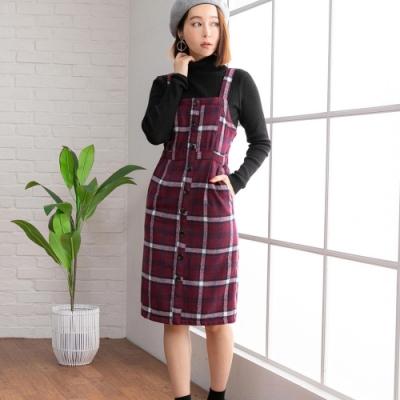 夢展望 格紋單排釦吊帶連身裙-M.L(共二色)