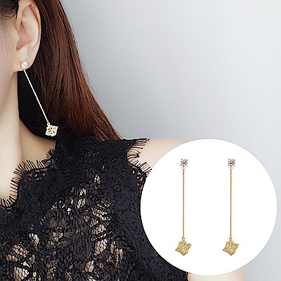 梨花HaNA 韓國南大門細緻氛圍鏤空水晶鑲嵌耳線耳環
