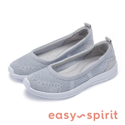 Easy Spirit-seGLITZ2 活力舒適 後跟異材質拼接休閒平底鞋-銀色