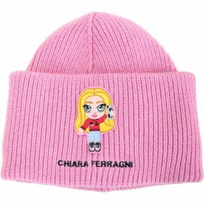 Chiara Ferragni @cfmascotte IG女孩粗針織銀蔥混紡羊毛帽(粉色)