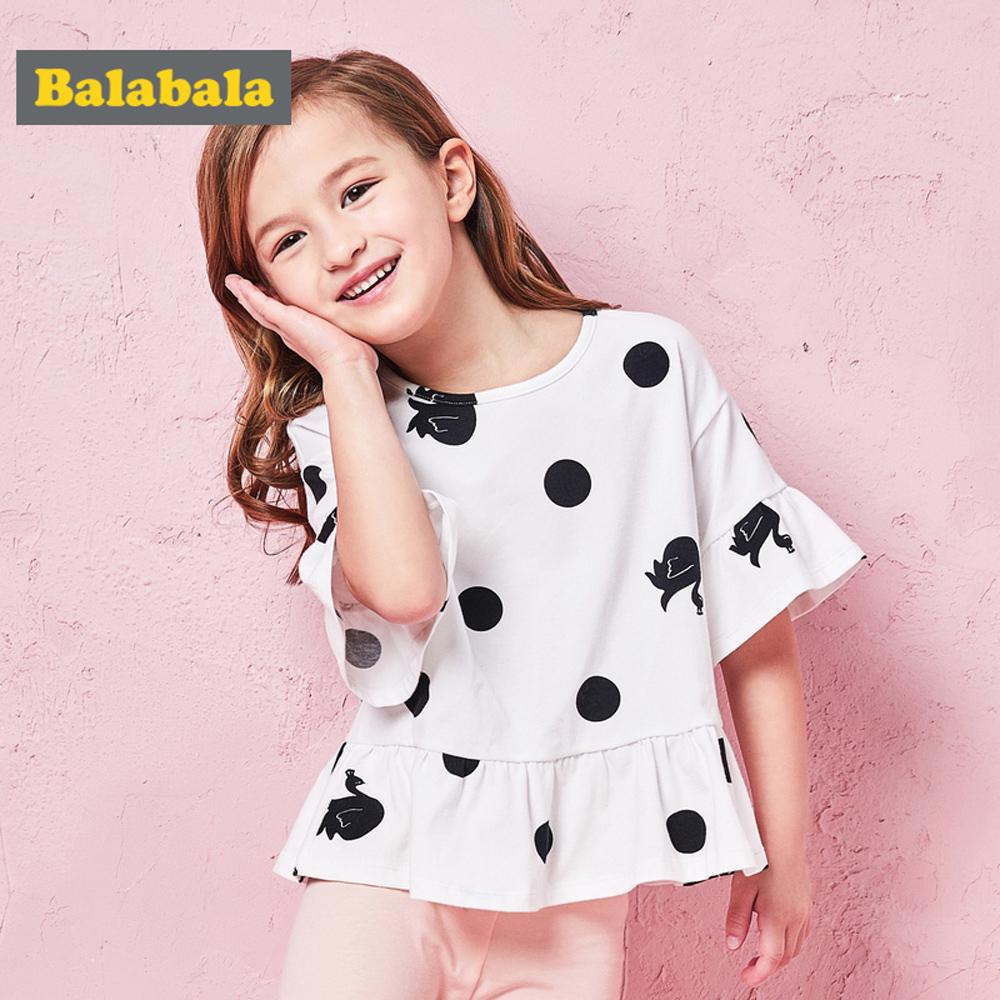Balabala巴拉巴拉-喇叭袖活潑小圖案造型上衣-女(2色)