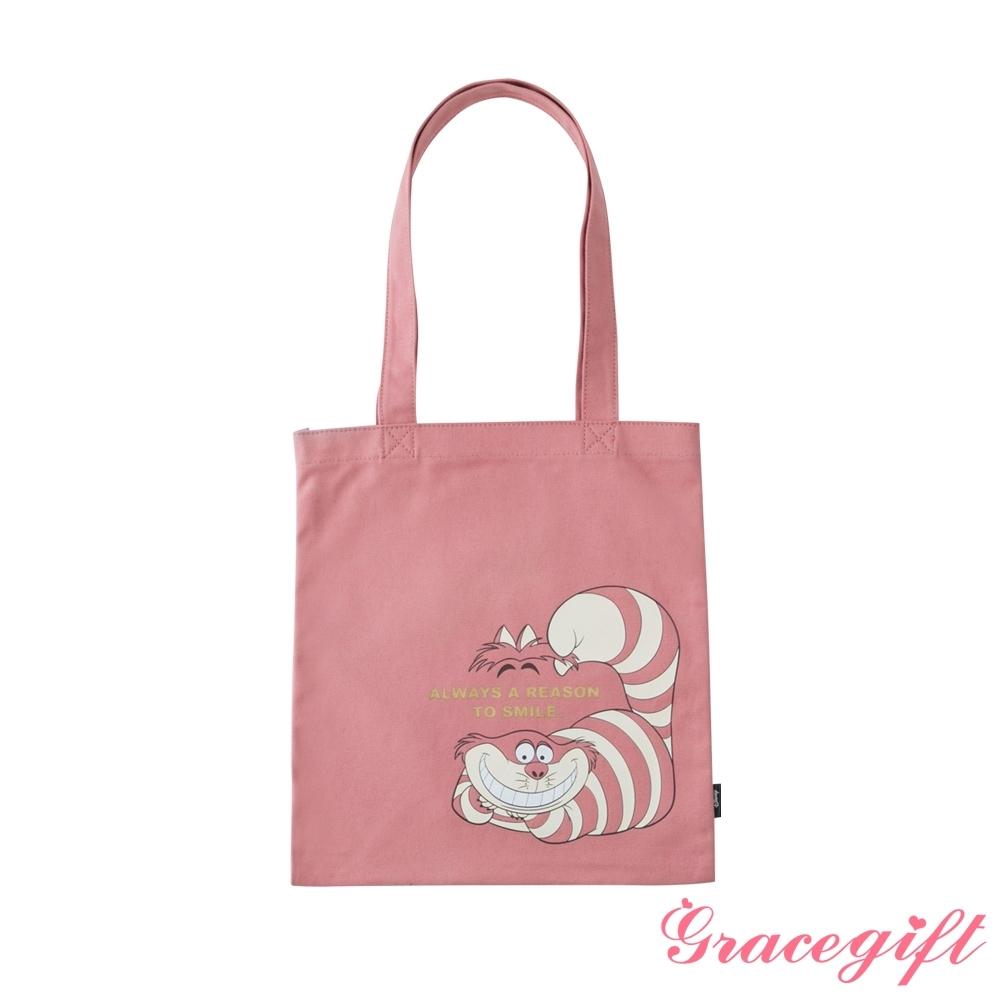 Disney collection by grace gift-迪士尼愛麗絲柴郡貓圖案帆布袋 深粉