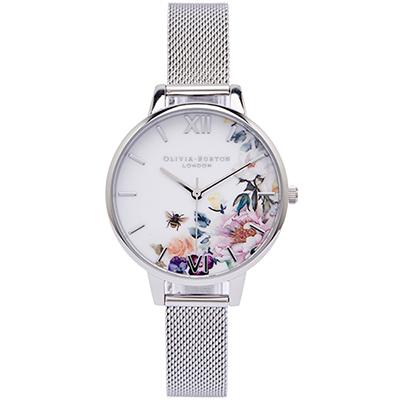 Olivia Burton 花樣年華風采的米蘭帶手錶(OB16EG136)-白面/34mm