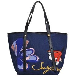 SEE BY CHLOE 品牌字母LOGO花朵圖騰手提肩背托特包(牛仔藍)