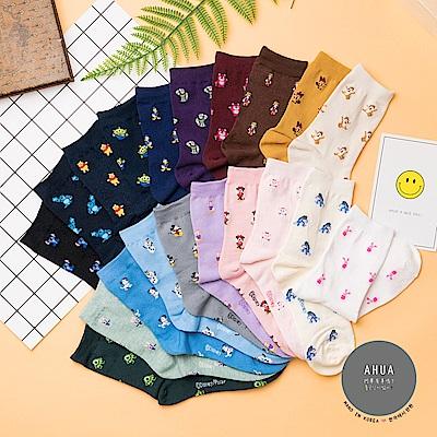 阿華有事嗎 韓國襪子 迪士尼滿版像素中筒襪 韓妞必備卡通襪 正韓百搭純棉襪