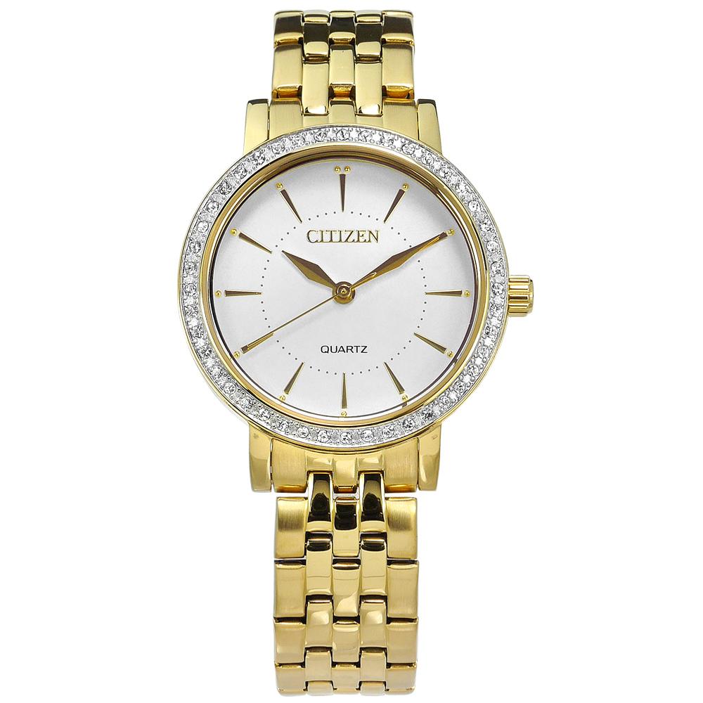 CITIZEN 優雅晶鑽鑲圈日本機芯不鏽鋼(EL3042-84A)手錶-白x鍍金/31mm