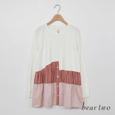 beartwo-三段拼接傘狀造型上衣-白