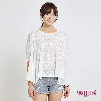 SOMETHING 鳶尾燒花拼接造型T恤-女-白色