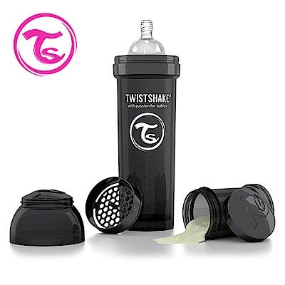 Twistshake 瑞典時尚 彩虹奶瓶/防脹氣奶瓶330ml/奶嘴口徑1mm-騎士黑