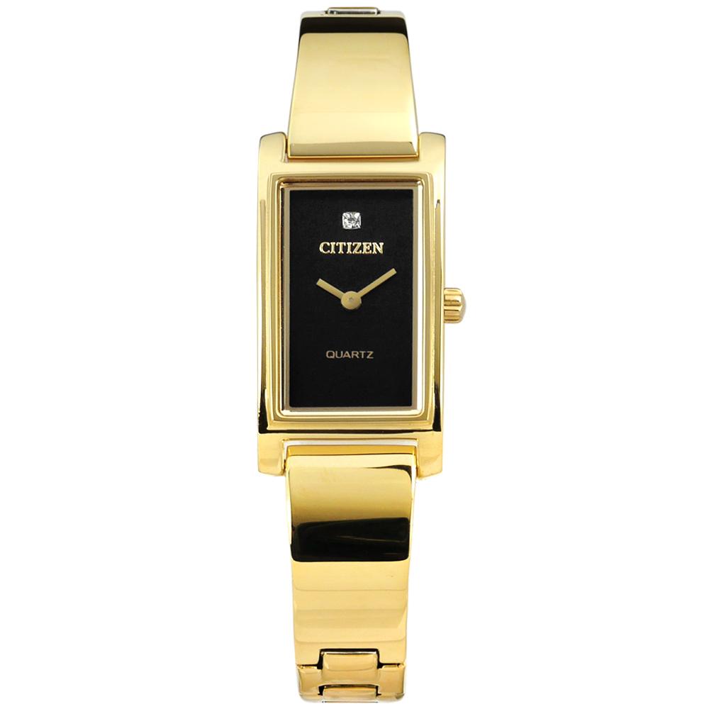 CITIZEN 秀氣細緻晶鑽刻度日本機芯不鏽鋼手錶-黑x鍍金/14mm @ Y!購物