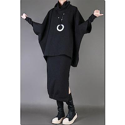高領套頭蝙蝠袖寬鬆顯瘦斗篷型上衣外套-設計所在 MP1636
