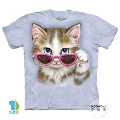 摩達客-預購-美國進口The Mountain 粉紅眼鏡貓 兒童版純棉環保藝術中性短袖T恤