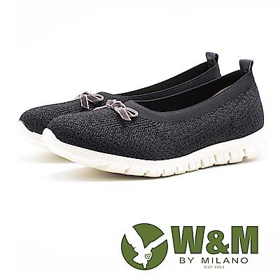 W&M 免綁帶蝴蝶結彈力休閒女鞋-黑(另有粉)