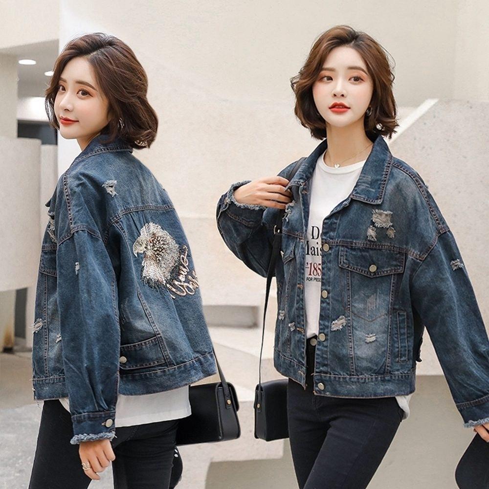 韓版時尚破洞精美刺繡經典牛仔外套M-3XL-WHATDAY