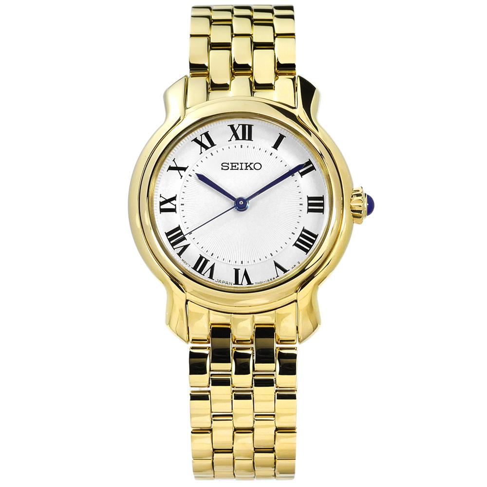 SEIKO 精工 歐式羅馬刻度礦石強化玻璃日本機芯不鏽鋼手錶-銀x鍍金/29mm @ Y!購物
