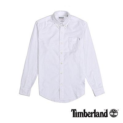 Timberland 男款紗染白色修身版襯衫