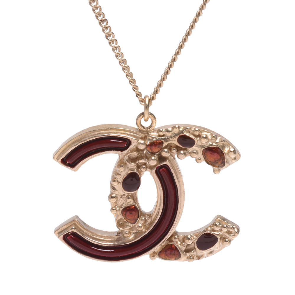CHANEL 經典雙C LOGO紅色琺瑯雙面造型墜飾項鍊(金)