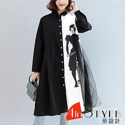 翻領撞色拼接印花長款襯衫 (黑色)-4inSTYLE形設計