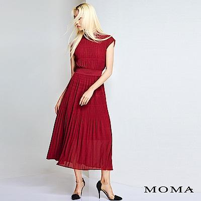 MOMA 小立領細褶無袖長洋裝
