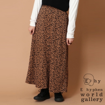 E hyphen 素面/豹紋絨面前排釦長裙