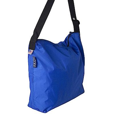 可收納式拉鍊托特包 - 肩背斜背兩用 寶藍