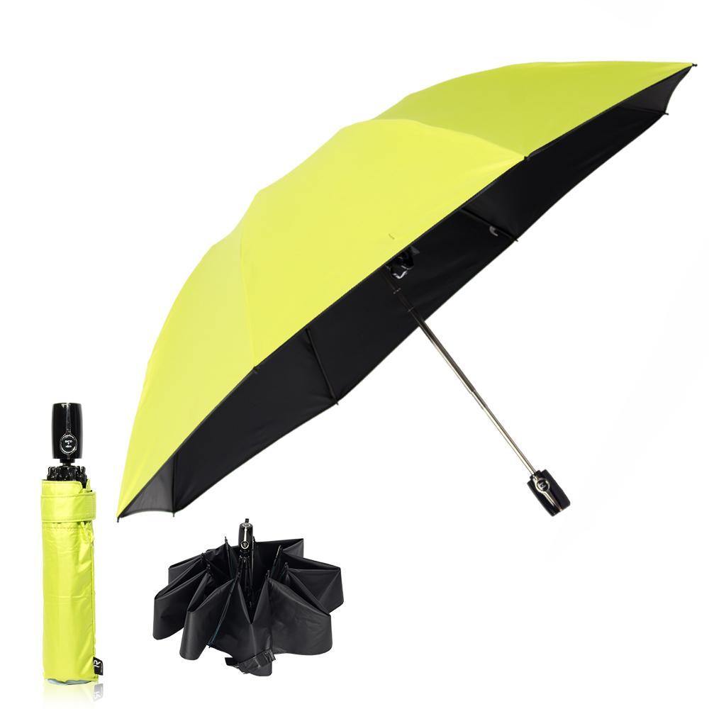 雙龍TDN 反向自動開收黑膠抗UV傘 -螢光綠