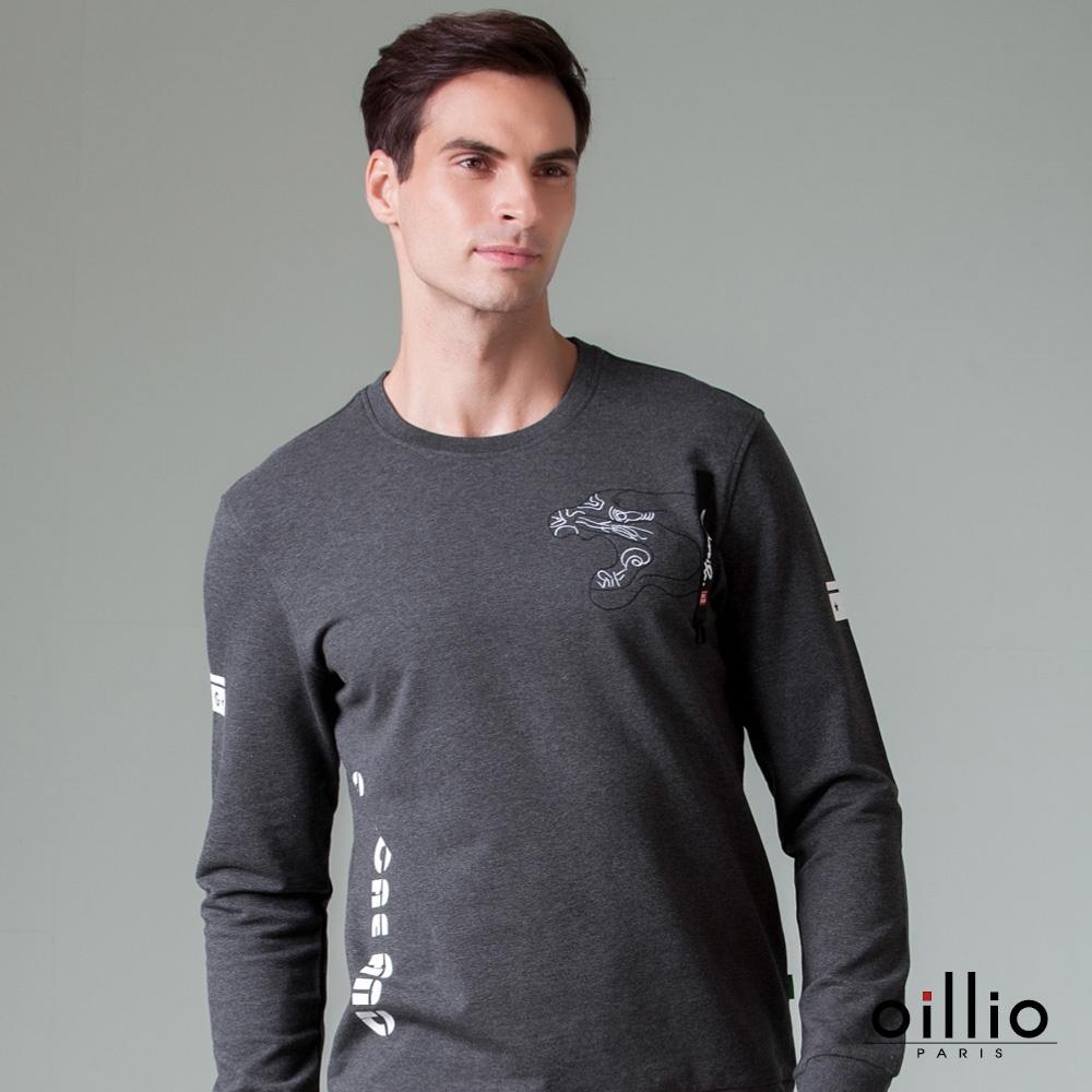 oillio歐洲貴族 男裝 長袖圓領全棉T恤 舒適超柔穿搭不悶熱 虎型圖騰 灰色