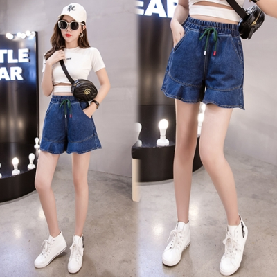【韓國K.W.】(預購)波濤花香牛仔短褲裙-1色