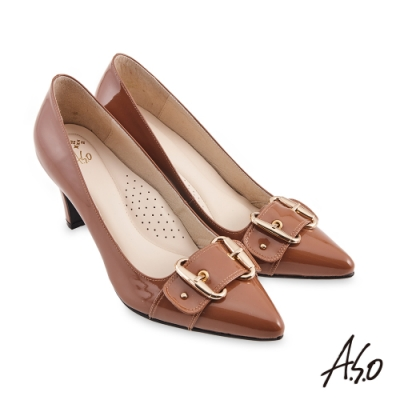 A.S.O  健步通勤氣質條帶飾扣漆皮高跟鞋-茶