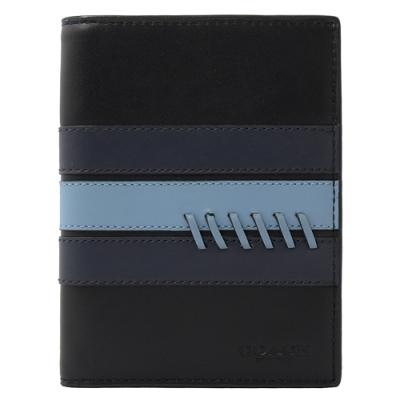 COACH 烙印LOGO彩條牛皮對開護照夾(深藍)