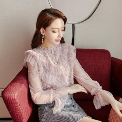設計所在Lady-蕾絲內搭衫網紗時尚法式優雅上衣(S-XL可選)