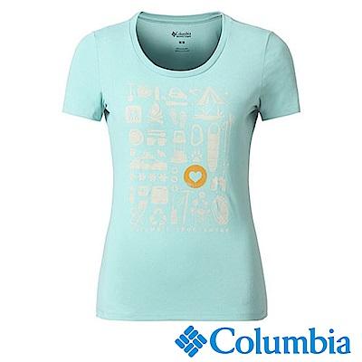 Columbia哥倫比亞 女款-快排短袖上衣-藍色 UAR11030BL