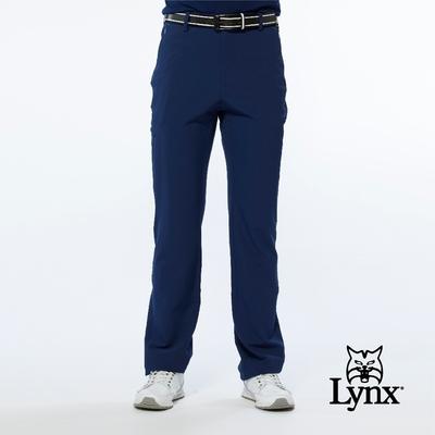 【Lynx Golf】男款潑水功能隱形拉鍊款腿袋設計平口休閒長褲-深藍色