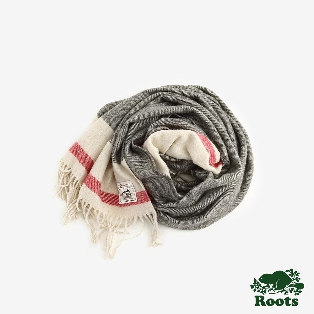 ROOTS配件- 溫馨佳節羊毛圍巾-灰